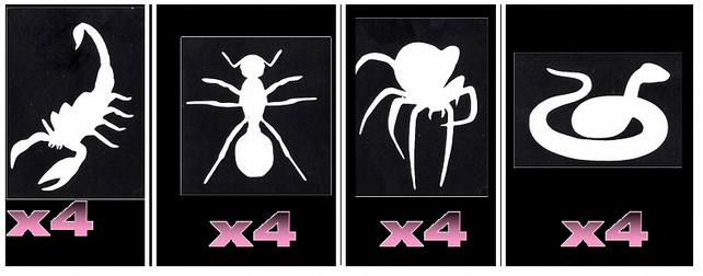 16 Scorpion ant spider snake Tattoo Stencils c3
