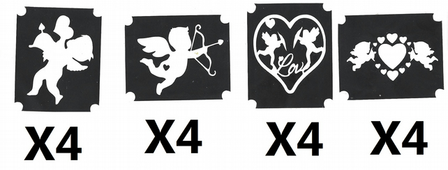 16 Cupid Love Valentine  Tattoo Stencils
