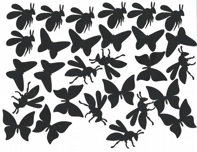Bee and Butterfly  Vinyl Decal Stickers (Black )  Peel and Stick