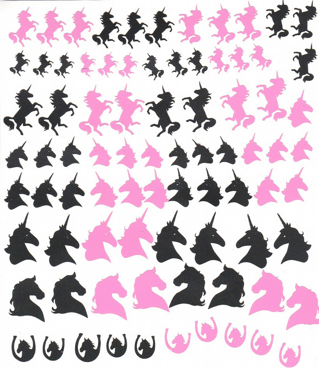 Unicorn ( Black and Pink  ) Press on Nail Stickers