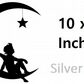 Angel On A Moon ( Silver  ) Vinyl Stickers