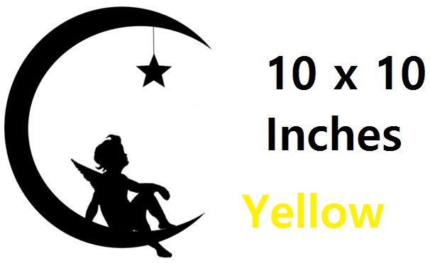Angel On A Moon ( Yellow   ) Vinyl Stickers
