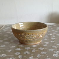 Handmade Stoneware Bowl in Oatmeal Coral Reef Glaze