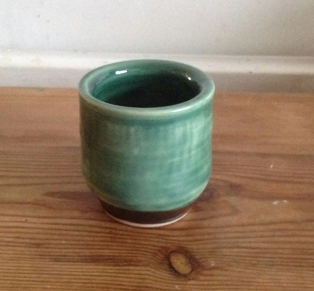 Green and Black Yunomi, Stoneware, Wheel-Thrown
