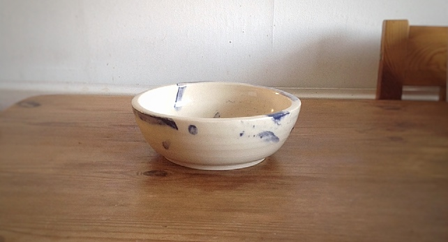Handmade Stoneware Bowl Cream with Blue Slip Decoration