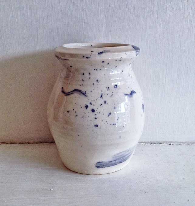 Small Wheel Thrown Vase in Cream and Blue