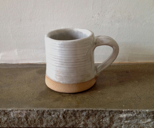 Small White Stoneware Mug - Gifts for Her - Gifts for Him - Handmade - Pottery