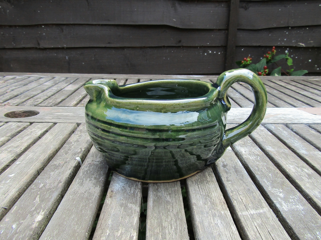 Made to Order:  Dark Green Stoneware Gravy Boat - Jug - Genie's Lamp Style - Pot