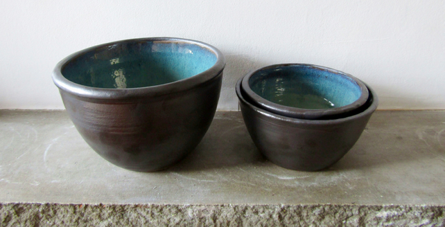 Seconds Sale:  Set of 3 Stoneware Nesting Bowls in Black & Turquoise - Pottery
