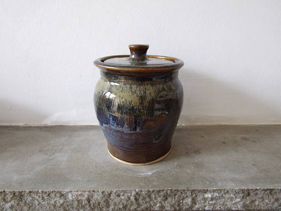 Small Stoneware Jar in Autumnal Colours - Wheel Thrown - Pottery - Ceramics