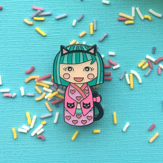 Kawaii Cute Neko Kokeshi Doll Enamel Pin