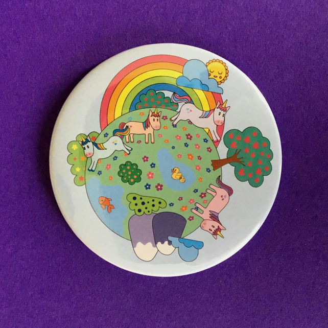 Believe in Magic Cute Unicorns Pocket Mirror