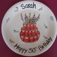 Birthday Cake Plate Hand painted and Personalised