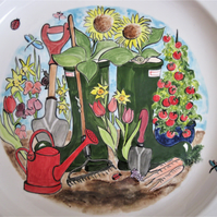 Personalised Plate with Gardening Design -Wellies, hand painted and customised