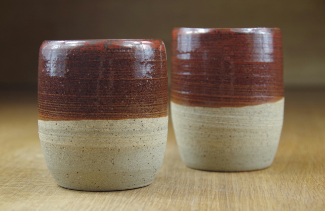 Set of Two Handless Cups, Small Coffee Cups, Pottery Mugs