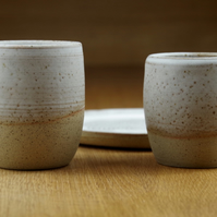 Set of Two Ceramic Tumblers & a Plate Handmade in Stoneware