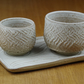 Set of Two Small Ceramic Tea Cups & a Tray Handmade in Stoneware, Pottery Cups