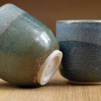 Set of Two Handless Stoneware Mugs, Small Coffee Cups, Small Pottery Cups