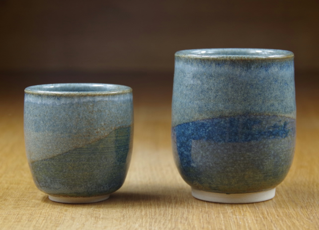 Set of Two Stoneware Handless Mugs, Small Coffee Cups, Pottery Cups, Handmade