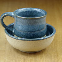 Set of a Ceramic Mug and a Small Bowl Handmade in Stoneware