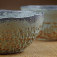 Set of Two Ceramic Bowls Handmade in Stoneware, Pottery Bowls, Cereal Bowls