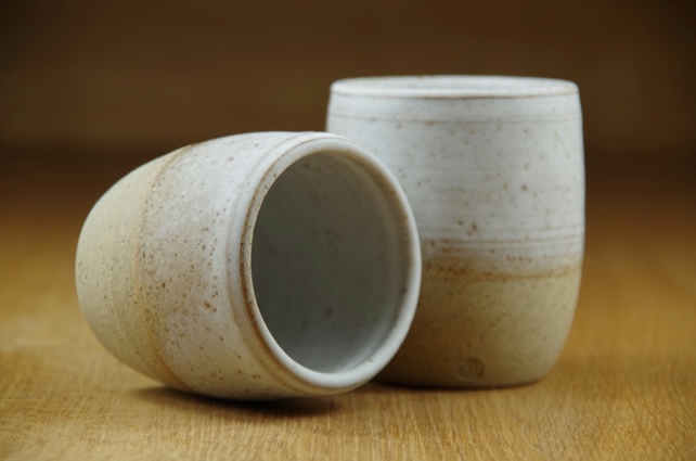 Set of Two Ceramic Tumblers Handmade in Stoneware, Pottery Cups