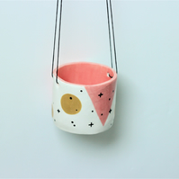 Ceramic pink & mustard hanging pot