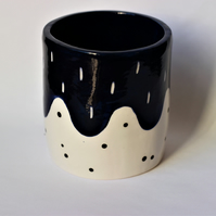 SALE Ceramic midnight blue pot