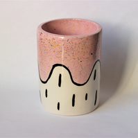 Ceramic pink speckle pot