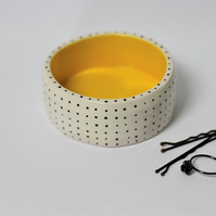 Ceramic yellow spotty trinket dish