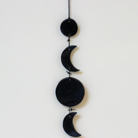 Ceramic blue moon wall hanging