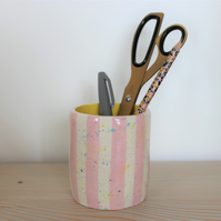 Ceramic pink and yellow candy stripe speckle pot