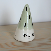 Ceramic decorative character cone in mint green