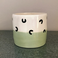 Ceramic patterned mint green pot