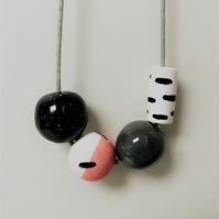 Ceramic modern bead necklace