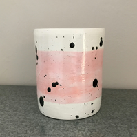 SAMPLE SALE Ceramic pink and black spotty pot