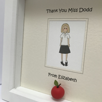 Personalised Thank you teacher framed picture. Gift for teachers, Teachers