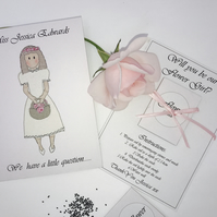 Personalised  'Will you be our flower girl?' invitation card.