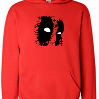 Deadpool Ink Splattered Mask Comic  ,Hoodie,80% Cotton,20% polyester Men's, Wome