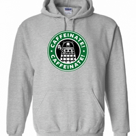 Dalek Caffeinate dr Who inspired , ,Hoodie,80% Cotton,20% polyester Men's, Wome