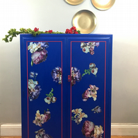 Bright cobalt Blue floral wardrobe. Vintage restyled wardrobe. office storage