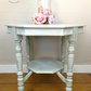 Octagonal table. Vintage console table. Bird printed table. Lamp table.