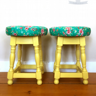 Vintage stool. floral stool. Pub stool. Vintage chair. seating. living room