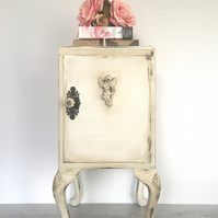 Vintage restyled bedside table. Bedside cabinet. Hand painted lamp table.