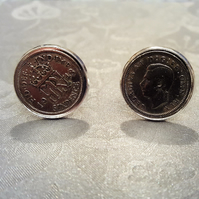 Sixpence cufflinks King George VI 1949 or 1951 coin cufflinks