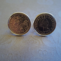 1966 Sixpence coin cufflinks Queen Elizabeth II