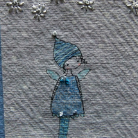 wintry blue pixie miniature stitched drawing