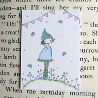 blueish party pixie aceo