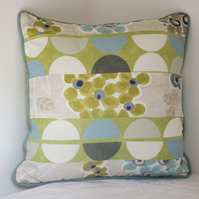 Blue, Green Patchwork Cushion
