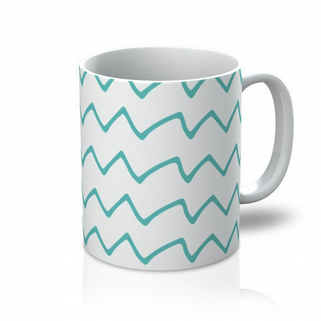 Teal Zigzags Mug